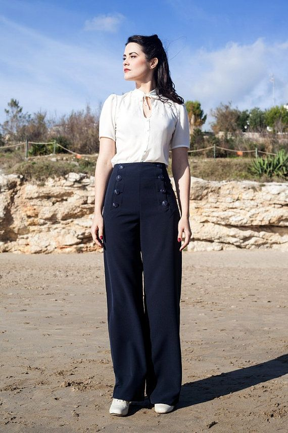 SAILOR PANTS High waisted 1940's swing trousers by LaVieEnSwing