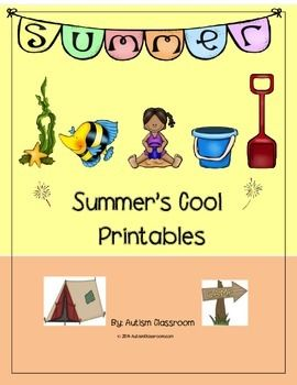 Summer's Cool Printables for Summer School & Enrichment (ESY, Homeschool). Printables for K, 1st, 2nd and Special Education   Perfect for Summer School, Extended School Year (ESY), Home School & Enrichment   (Summer Lesson Plans)
