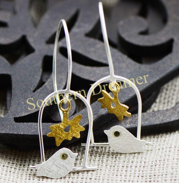 Romantic Aros de plata 925 Hand Made damen ohrringe creolen silber 925 Birdcage With A Bird In Gold Plated oorbellen For Women