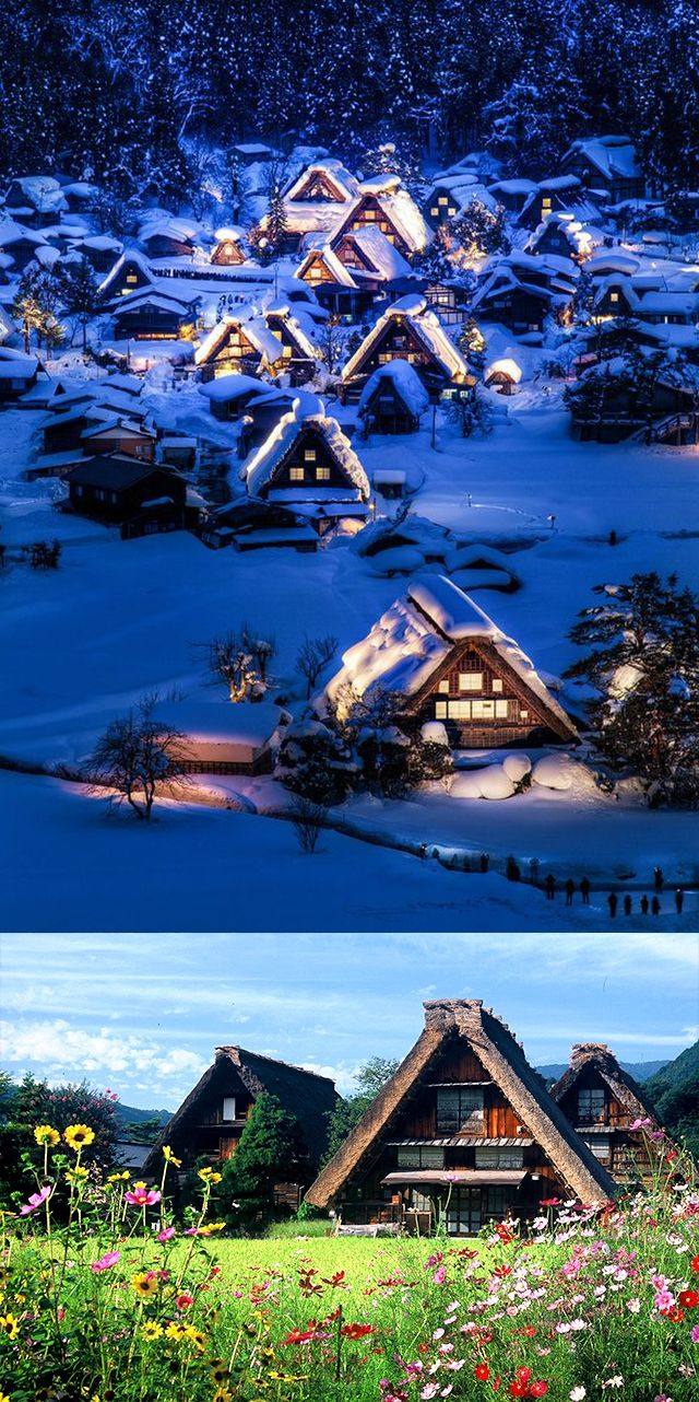 shirakawa gifu japan - UNESCO heritage site for its thatched roof built for heavy snowfall resistance