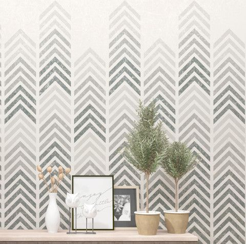 Geometric Chevrone Pattern Stencil. Love the ombre effect. Could be amazing wall art on the cheap using stretched canvas.