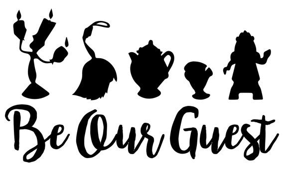 By purchasing these files, you are agreeing that they will be for personal use only. You may not share, forward, or otherwise use them for profit.  This is a digital download of a Be Our Guest Beauty and the Beast-inspired cutting file set. With this purchase, you will receive a zipped folder containing this image in SVG, DXF, and JPG formats. These files are suitable for use in Cricut Design Space, Sure Cuts A Lot, Make The Cut, Silhouette Basic Edition, and Silhouette Designer Edition. You…