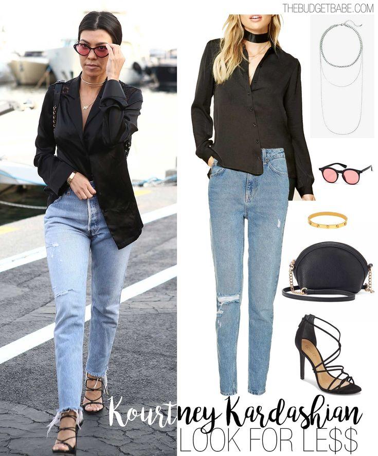 Kourtney Kardashian's pajama shirt and high-waist mom jeans look for less