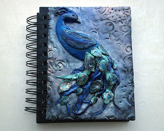 Polymer clay journal / bird journal / mixed media / custom journal / peacock / fantasy art / A6 journal / secret diary / fantasy journal