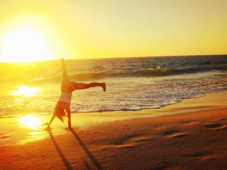 Beach cartwheel.