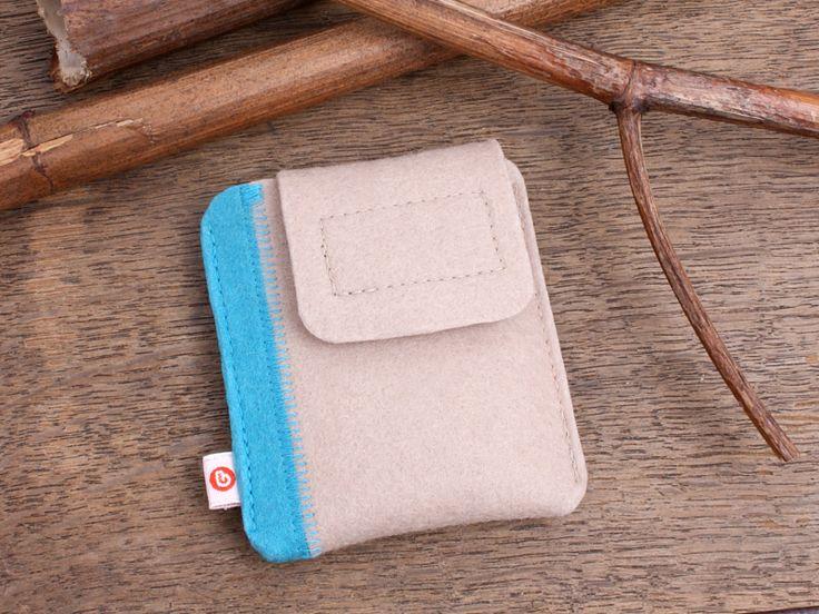 """iPod nano Tasche """"Beige + türkiser Streifen"""" von blandine taschen  auf DaWanda.com"""