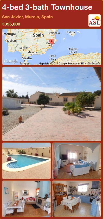4-bed 3-bath Townhouse in San Javier, Murcia, Spain ►€355,000 #PropertyForSaleInSpain
