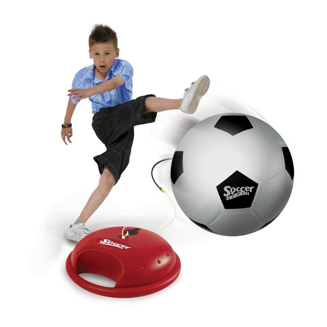 Mookie allows you to play soccer wherever you go - awesome! No spacious backyard or park needed. Swingball features a recoiling cord. Simply fill the base with water or sand and you're good to go! #activetoys #entropytoys #soccer