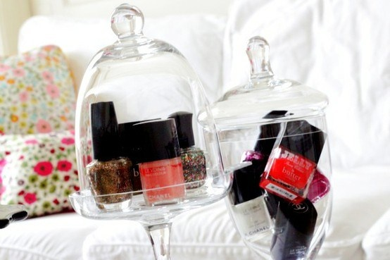 Seasonal jar for storing nail polish, great idea. Like the suggestion to stash the ones you aren't wear and rotate seasonally (but you'd want to make sure it didn't go bad).