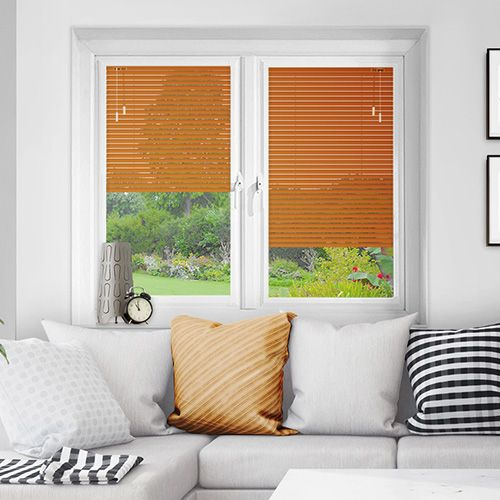 An aluminium perfect fit venetian blind in a orange-mango matt colour, comes in 25mm wide slat ideal for french doors.