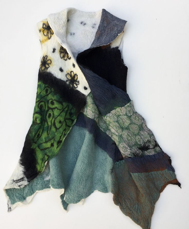 Nuno Felt Artist Vest, Merino Wool Women Vest ,Reversible vest ,Green, Black, White and Brown 33'X16'
