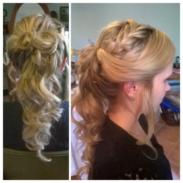 Half updo with braide for formal.