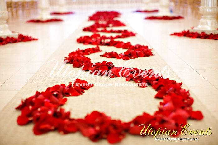 Wedding runner with rose petals, for the bride and groom to walk on. Simple, but effective! #indian #decor
