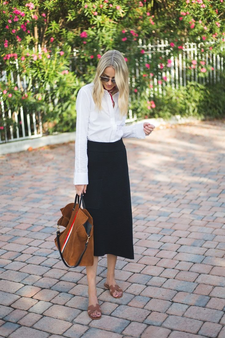 Tibi Midi skirt, Frame blouse, Hermes sandals, Clare V simple tote