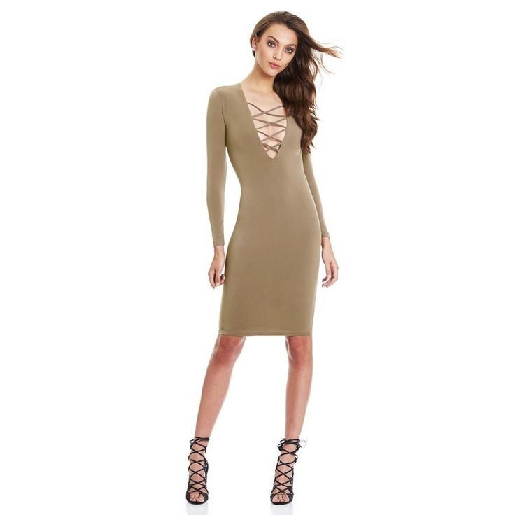 Long Sleeve Bodycon Midi Dress. Sexy Women Plunge V Neck Criss Cross Strap  ... 957a42d28