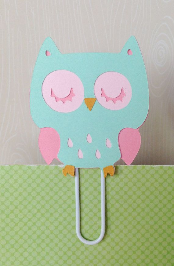 Brand New and Adorable...Pink and Teal Owl Filofax Day Planner Bookmark by KawaiiPaperie, $1.20