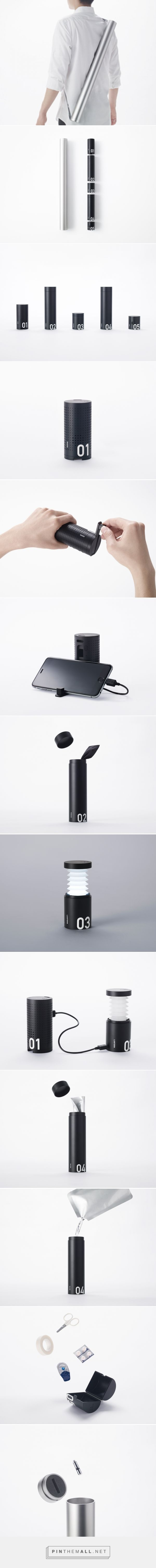 nendo organizes emergency kit essentials within a single, compact tube - created via http://pinthemall.net