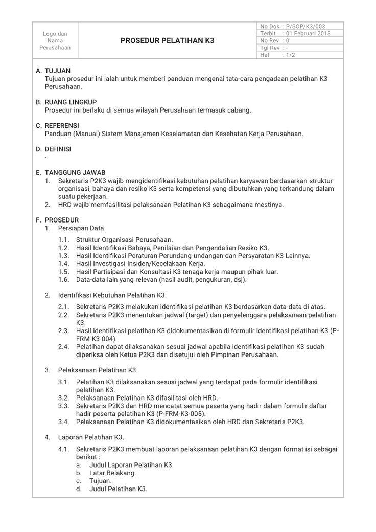 Contoh Prosedur Identifikasi Kebutuhan Pelatihan K3