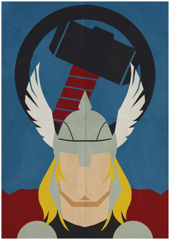 Thor - Minimalist Retro Poster, Movie Poster, Art Print    Poster Size: 11.7 inches X 16.5 inches    Printed on high quality, A3 220gm Textured paper