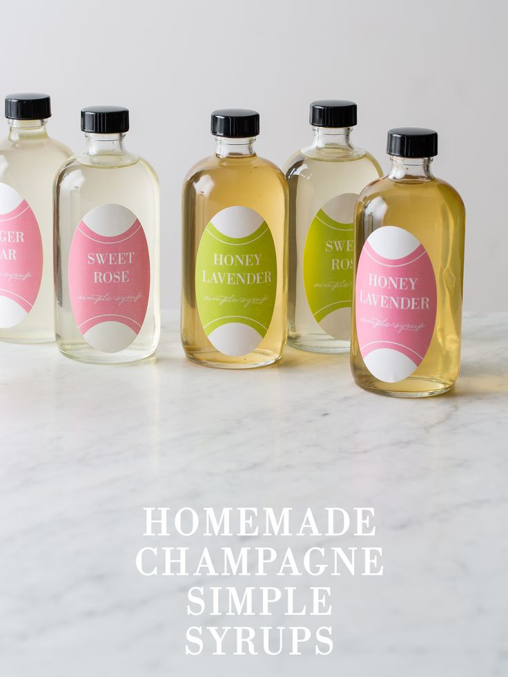 DIY Homemade Champagne Simple Syrups (honey-lavender, ginger-pear, and sweet rose) from Spoon Fork Bacon