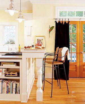Always wanted a kitchen bar & a shelf for cookbooks   . . . .   ღTrish W ~ http://www.pinterest.com/trishw/  . . . .  #home #cottage