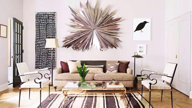 Rugs 101: Your Ultimate Guide to Rug Shopping // striped rug, jute rug, layered rugs, gold coffee table: Interior Design, Nate Berkus, Nateberkus, Livingrooms, Living Rooms, Idea, Interiors, Designer, Wall Sculpture