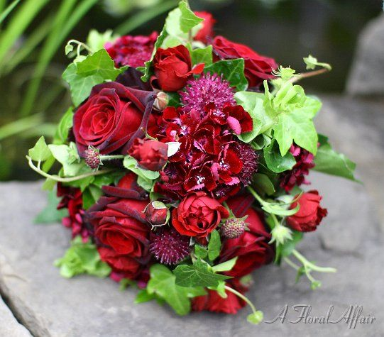 BB0329-Red Floral Wedding Bouquet