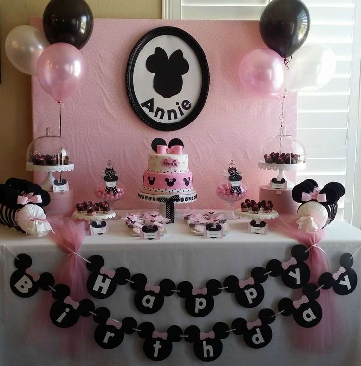 Pink and black Minnie Mouse birthday party! See more party planning ideas at CatchMyParty.com!