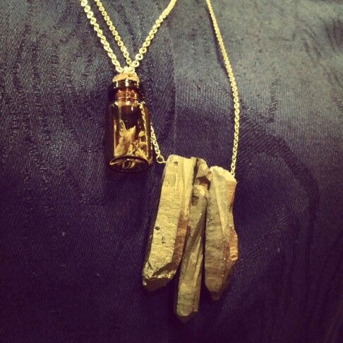 #makeshift #perth #fashion #festival #featured #artist #thebunny @thebunnyshoppe #jewellery #mini #brown #cork #bottle #necklace with #dried #flowers $24, and #16k #gold #plated #chain #necklace with #gold #crystal #quartz #pendant $45