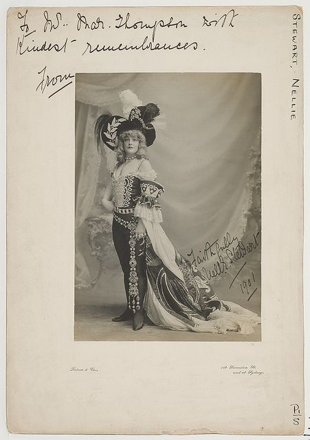 Miss Nellie Stewart, as Prince Charming in Cinderella, 1901 / Talma & Co., 119 Swanston St. [Melb.] and at Sydney by State Library of New South Wales collection, via Flickr  Nellie Stewart was called Australia's sweetheart. In the novel, Sam Sullivan sees her backstage at the Princess Theatre in Melbourne.