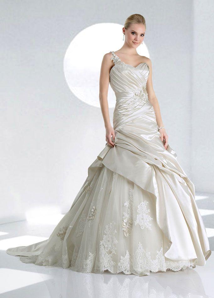 One shoulder dropped waist ball gown satin wedding dress