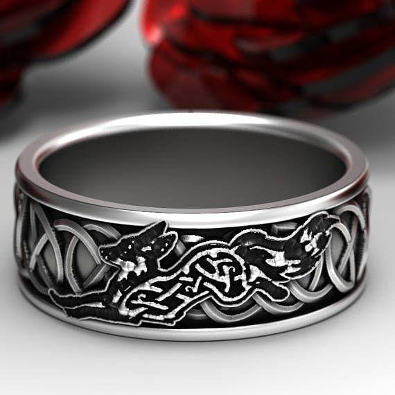 Sterling Silver Celtic Fox Ring, Fox Wedding Band, Mens Wedding Band, Irish Wedding, Fox Jewelry, Celtic Knot Ring, Custom Size 1151