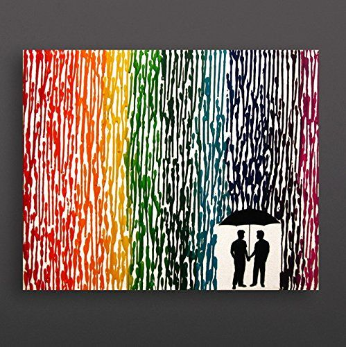 "Gay Wedding Gift, Gay Couple Gift, Melted Crayon Art, Rainbow Painting 16""x20"" Canvas >>> You can find more details by visiting the image link. (Amazon affiliate link)"