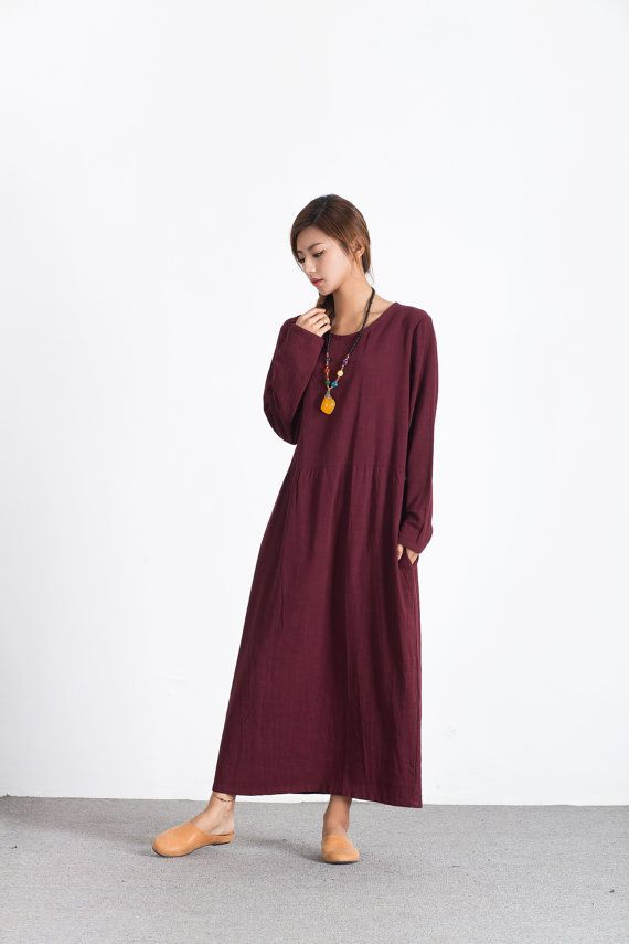 Women's linen maxi dress oversize bridesmaid dress long linen caftan large size dress plus size clothing Custom_made dress A68