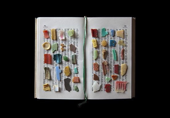 Plastic remnants on a book in Jerry Takigawa's artistic expression of the tragedy of world oceans Untitled F-334 from False Food