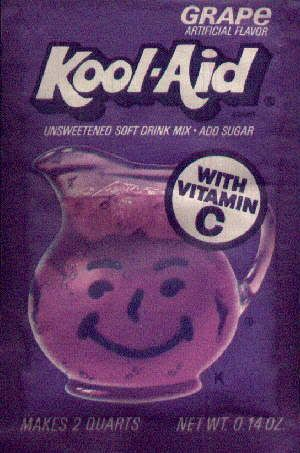 "Kool-Aid  Oh, how we laughed when my dad would do his ""Koolaid man"" imitations!  Hahaha!  Oh, how much Koolaid did we drink.  Whatever happened to that yellow pitcher that held our grape and lemonade mix?"