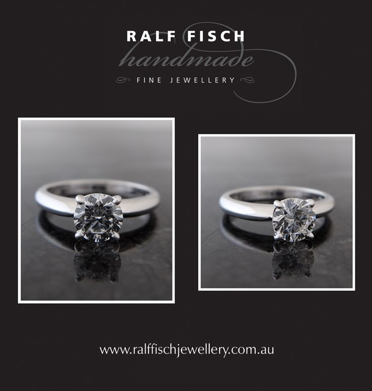 18ct white gold platinum palladium handmade engagement ring with a triple excellent round brilliant cut diamond. A timeless classic, this soliatire engagement ring takes a modern approach with its four claw setting and knife edge shank shape
