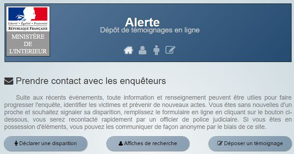 URGENT attacks PARIS Procedure to testify or report a disappearance, https://www.securite.interieur.gouv.fr/