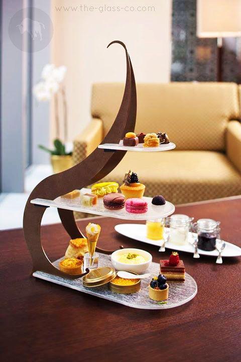 High Tea Stand By Glass Studio For Oberoi Dubai! ● Code: S4-F1-29-CR41 ➡ Ask us at info@myglassstudio.com