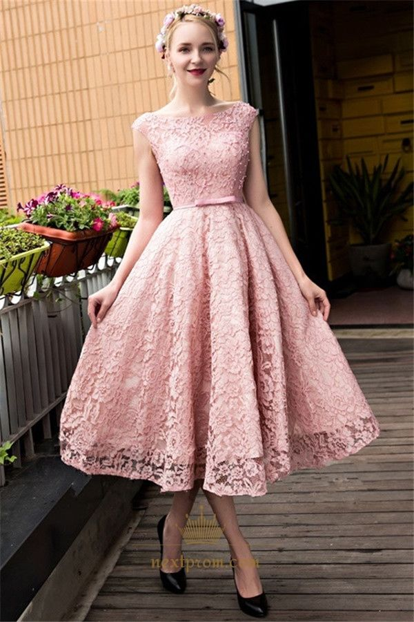 NextProm.com Offers High Quality Vintage Pink Cap Sleeve Tea Length Homecoming Dress With Lace Overlay,Priced At Only USD $112.00 (Free Shipping)