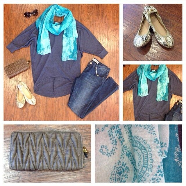 Apricot Lane Boutique  601.707.5183 This cute outfit is a must for today! A light blue high low sweater with Velvet Heart denim, flats, printed scarf, shades, and stunning clutch. @renaissanceatcolonypark #shoprenaissance @apricotlaneridgeland #apricotlane #fashion2013 #fall2013 #ootd #instastyle