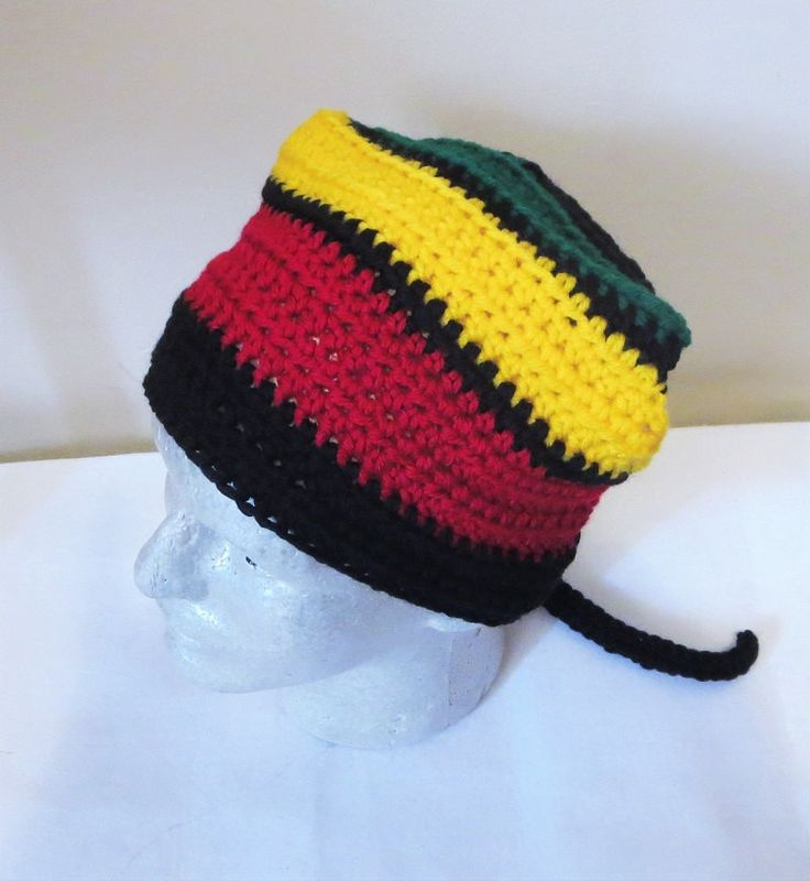 Rasta Kerchief, Rasta Crochet Du Rag, Rasta Bandanas, Crochet Head Scarf, Head Covering, Crochet Hair Accessories by TiStephani on Etsy