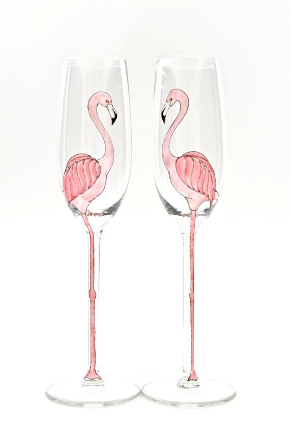 Pair of Pink Flamingo Long Stemmed Champagne by ToastedGlass