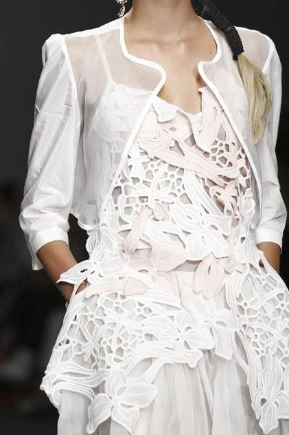White embroidered lace slip & cropped sheer jacket; dainty fashion details // Bora Aksu S/S 2015