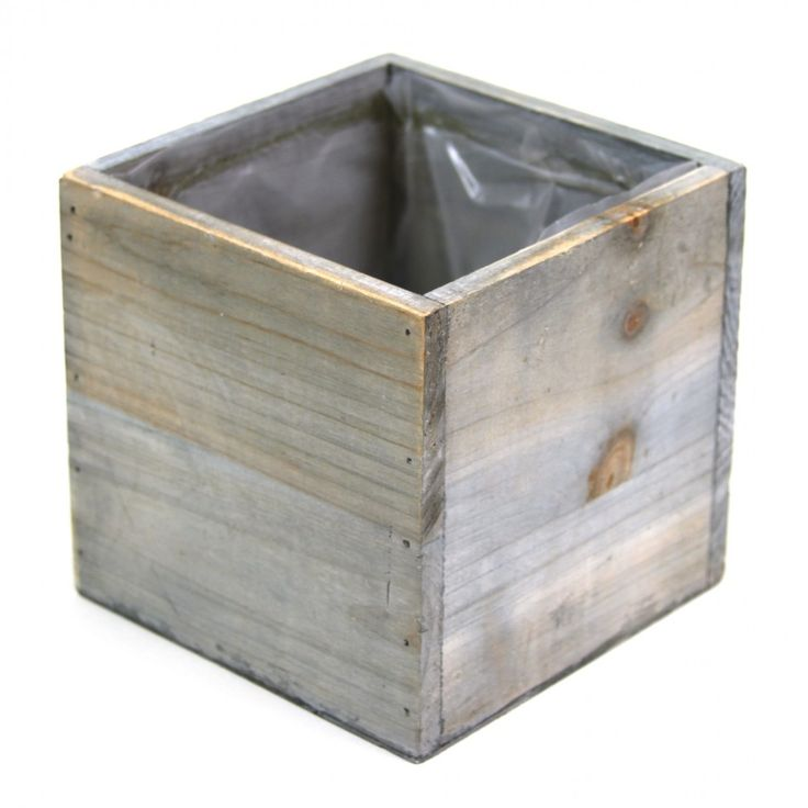 5 x 5 Square Cube Wood Vase - Rustic Gray [424460] : Wholesale Wedding Supplies, Discount Wedding Favors, Party Favors, and Bulk Event Supplies