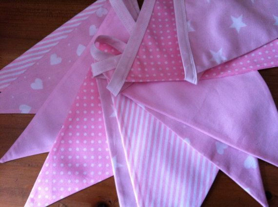Fabric bunting, pale pink and white cotton flags,