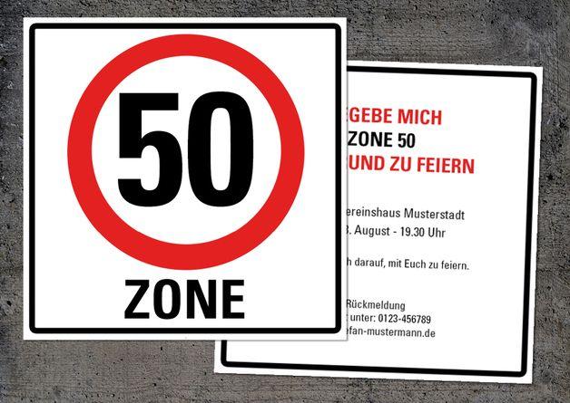 Einladung zum 50. Geburtstag: Verkehrsschild