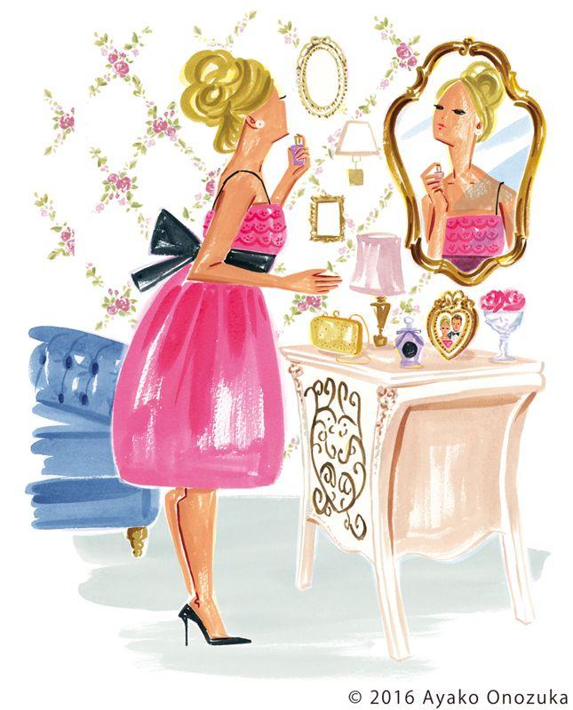 ayako onozuka #illustration #Fashion #Watercolor #イラストレーション #メイク #女性 #make #Woman #interior #インテリア #perfume #dresser