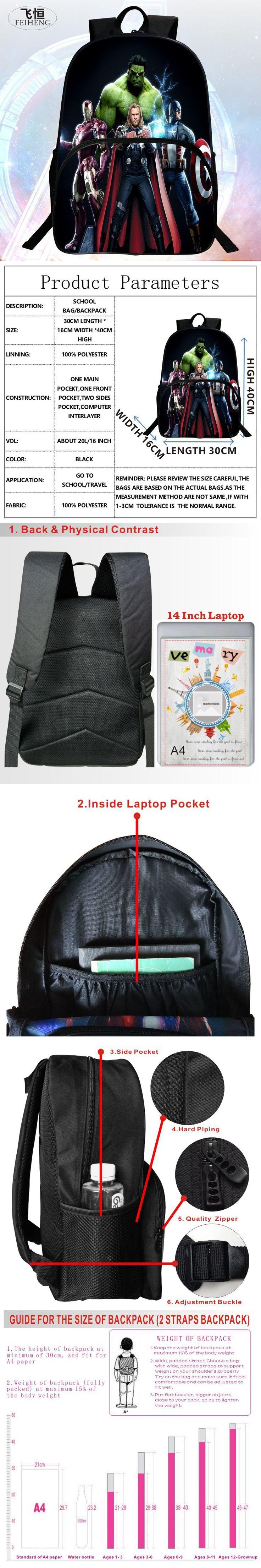 2016 Hot Sale 16-inch Printing Hero Hawkeye Schoolbag Avengers Kid Bags Children Backpack Boy School Backpacks Students Mochila $21.11