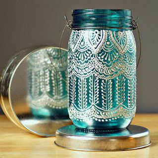 Ooooo....so pretty.  I want for my makeup pencils and brushes!!!!   A Bit of Bees Knees: DIY Puffy Paint Lanterns
